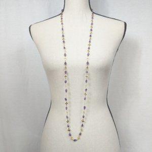 Purple & Gold Gemstone Long Necklace